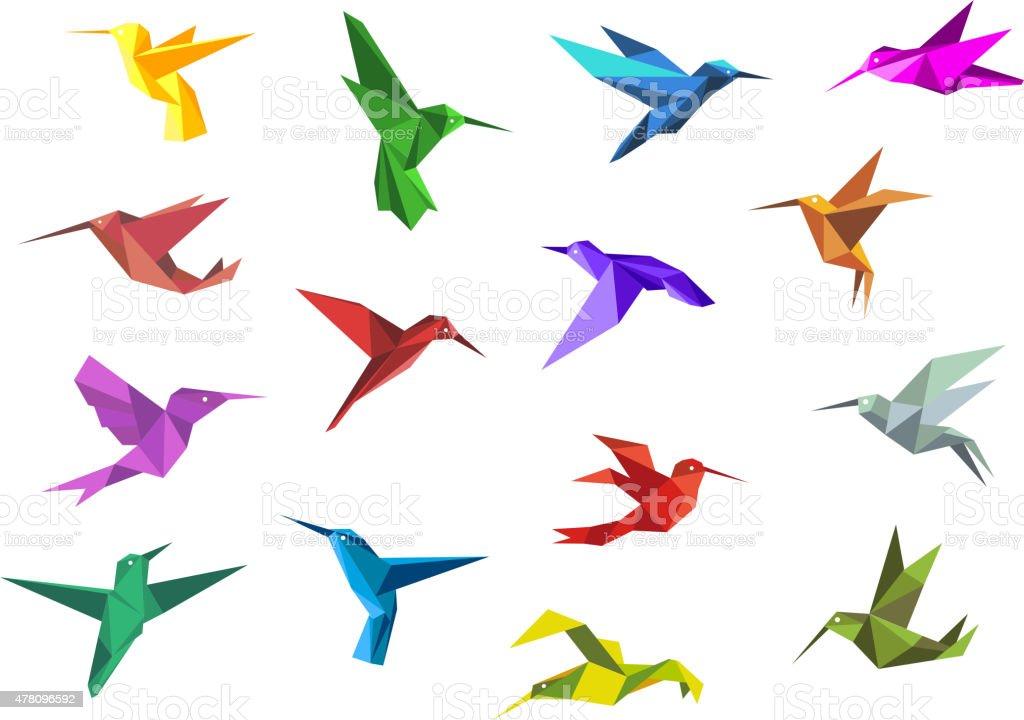 Flying origami hummingbirds or colibri birds vector art illustration