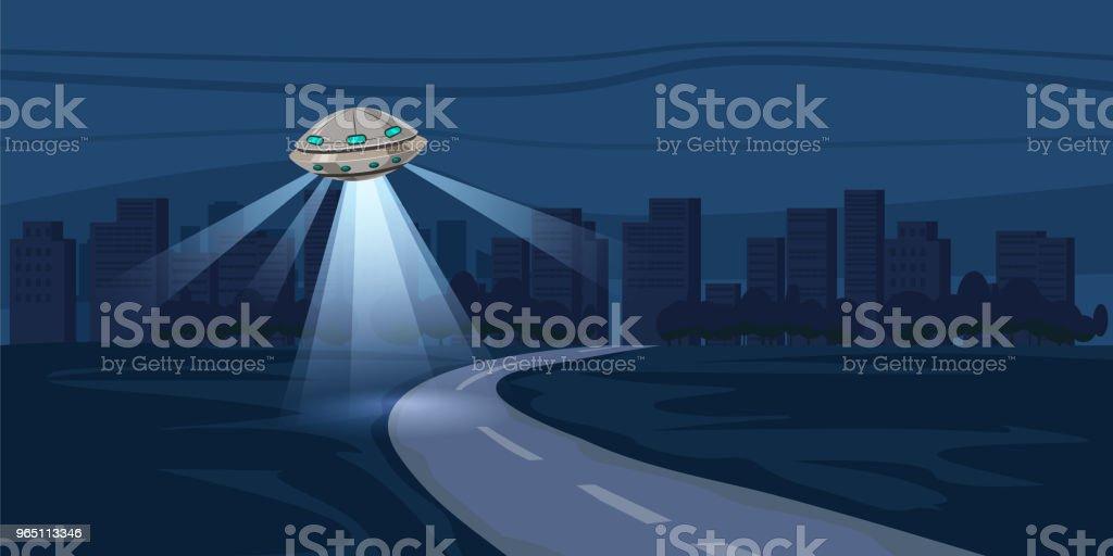UFO flying over night city, metropolis, houses, skyscrapers, expensive, vector, illustration ufo flying over night city metropolis houses skyscrapers expensive vector illustration - stockowe grafiki wektorowe i więcej obrazów bez ludzi royalty-free