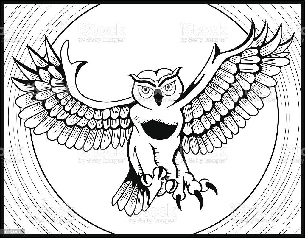 Flying Owl royalty-free stock vector art