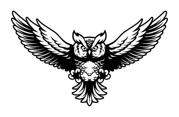 flying owl with open wings and claws logo mascot in sport style - black and white owl stock illustrations, clip art, cartoons, & icons