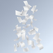 Flying pages of papers or documents, isolated in blue background - realistic vector
