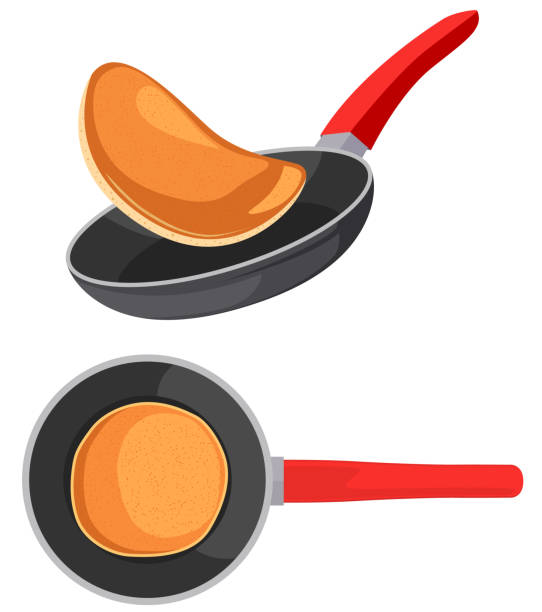 Flying pancakes and pancake in frying pan Flying pancakes and pancake in frying pan frying pan stock illustrations