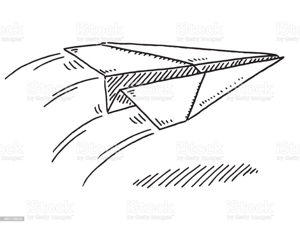 Flying Paper Airplane Drawing Stock Illustration Download Image