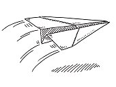 Flying Paper Airplane Drawing