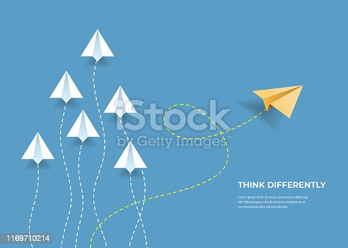 Flying paper airplanes. Think differently, leadership, trends, creative solution and unique way concept. Be different.