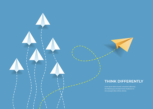 Flying paper airplanes. Think differently, leadership, trends, creative solution and unique way concept. Be different. clipart