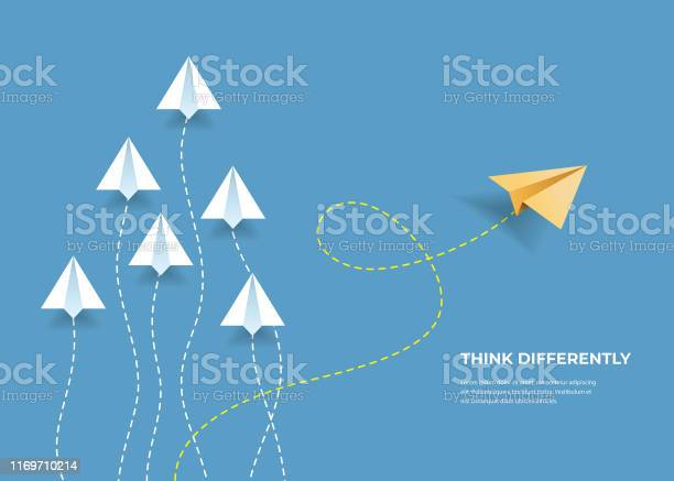 Flying Paper Airplanes Think Differently Leadership Trends Creative Solution And Unique Way Concept Be Different - Arte vetorial de stock e mais imagens de Avião