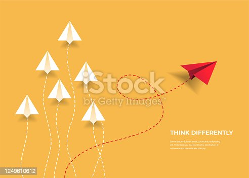 istock Flying paper airplanes. Think differently, leadership, trends, creative solution and unique way concept. Be different. 1249610612
