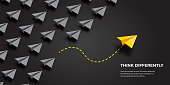 istock Flying paper airplanes. Think differently, leadership, trends, creative solution and unique way concept. Be different. 1298135999