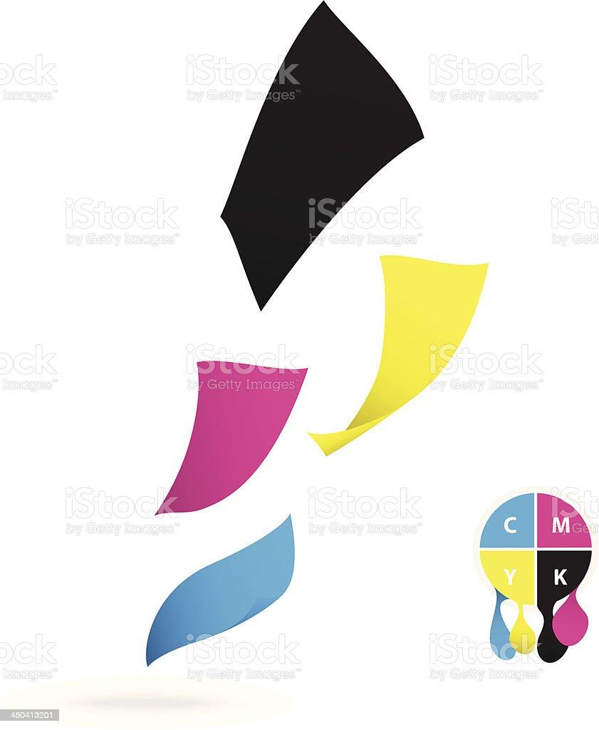 Flying paper CMYK color design royalty-free stock vector art