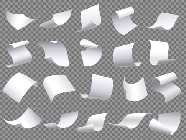 Flying paper pages. Falling papers documents sheets, document with curved corner and fly page sheet isolated vector objects set Flying paper pages. Falling papers documents sheets, document with curved corner and fly page sheet. Office file sheets pages. 3D realistic paperwork isolated vector objects set mid air stock illustrations