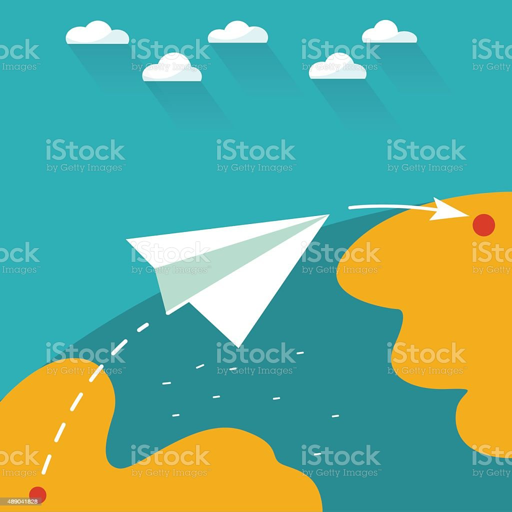 Flying paper plane on the sky. Travel and e-mail concept vector art illustration