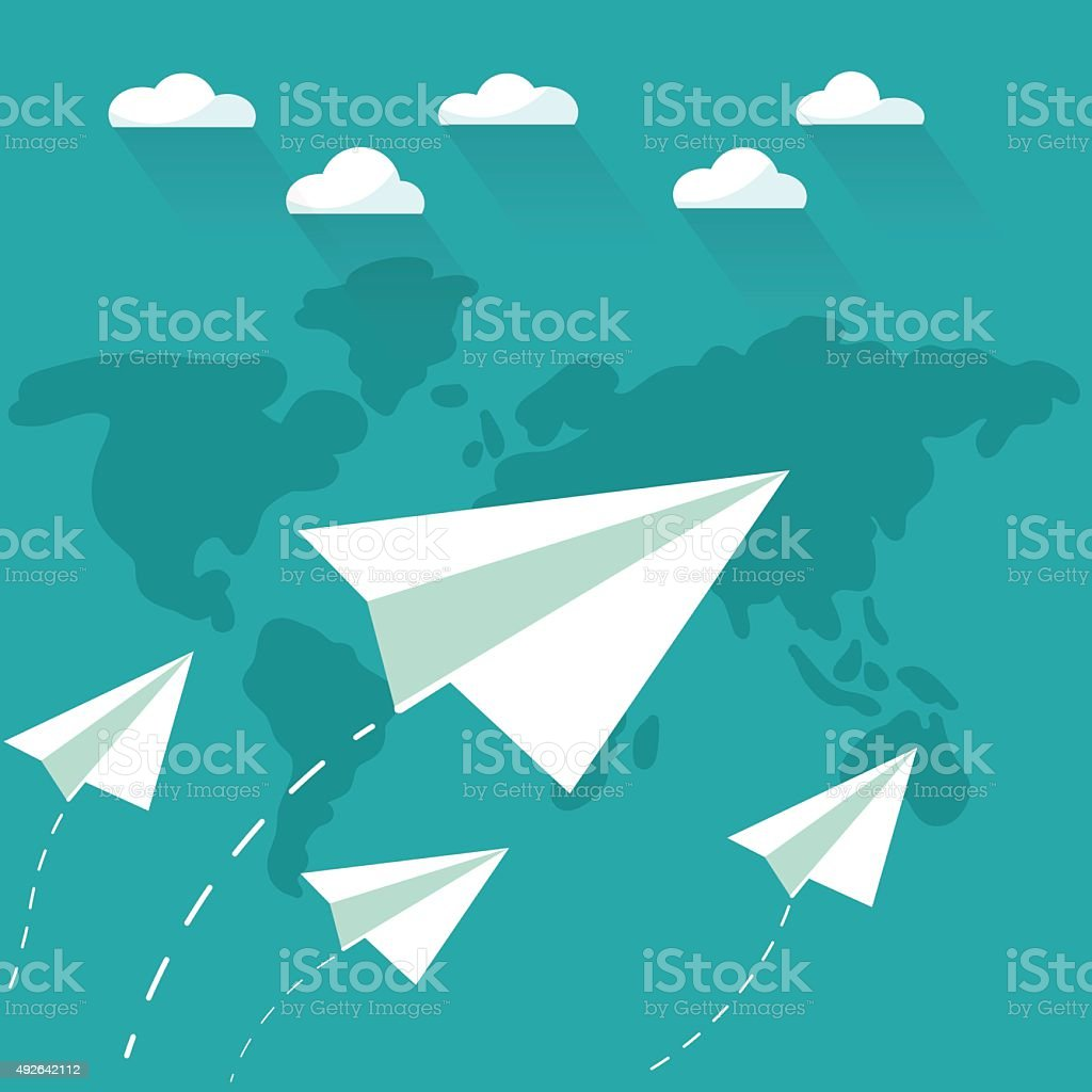 Flying paper planes on sky with clouds over world map. vector art illustration