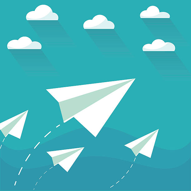 Flying paper planes on the blue sky with clouds vector art illustration