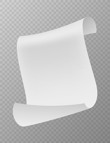 Flying paper sheet falling down with curved corners. Realistic volant blank white paper, scattered empty note, office document in air mockup, vector on transparent background template