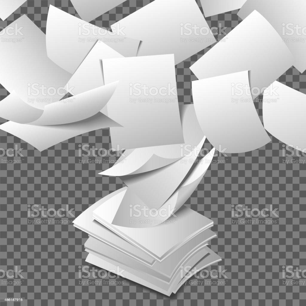 Flying paper sheets vector art illustration