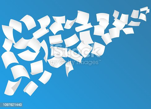 Falling paper sheets with curved corners in the sky . Blank paper sheet flying on blue background. White office documents over blue layout. Paperwork, advertisement, bureaucracy. Vector