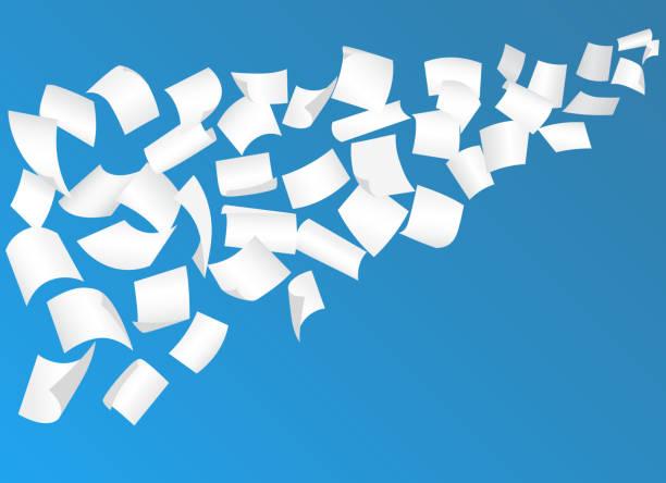 illustrations, cliparts, dessins animés et icônes de voler des feuilles de papier avec des coins courbes dans le ciel. vector - voler