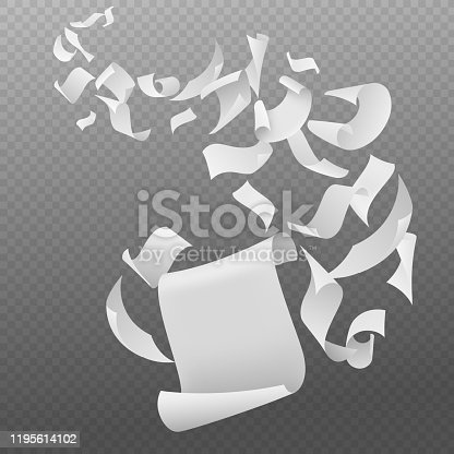 Flying papers. White blank sheets paper with bent corners, chaotic falling and flying empty scattered pages, realistic vector fall document concept