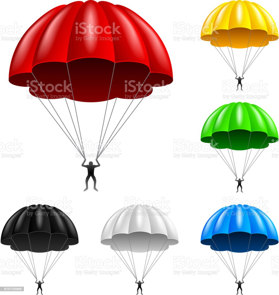 Flying parachute isolated on white vector 免版稅 flying parachute isolated on white vector 向量插圖及更多 人 圖片
