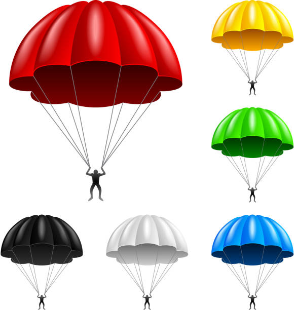Flying parachute isolated on white vector Flying parachute isolated on white photo-realistic vector illustration parachuting stock illustrations
