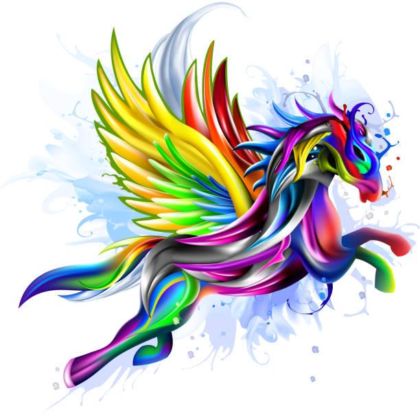 flying pegasus concept artwork - pegasus stock illustrations