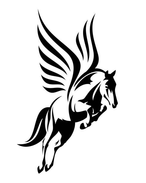 flying pegasus horse black vector design - pegasus stock illustrations