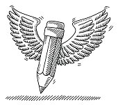 Hand-drawn vector drawing of a Flying Pencil with Wings. Black-and-White sketch on a transparent background (.eps-file). Included files are EPS (v10) and Hi-Res JPG.