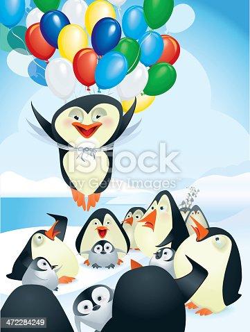 istock Flying penguin using balloons cartoon 472284249