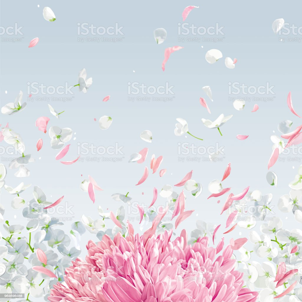 Flying petals vector  horizontal seamless background royalty-free flying petals vector horizontal seamless background stock vector art & more images of apple blossom