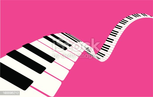 Flying piano keys on pink. Keys and background are separate layers, for easy editing. You may also like: