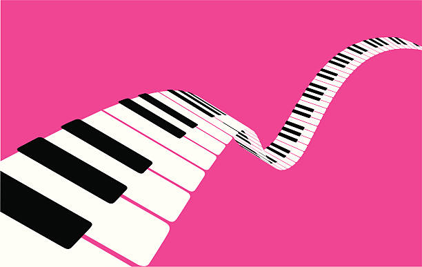 Flying piano keys [VECTOR] vector art illustration