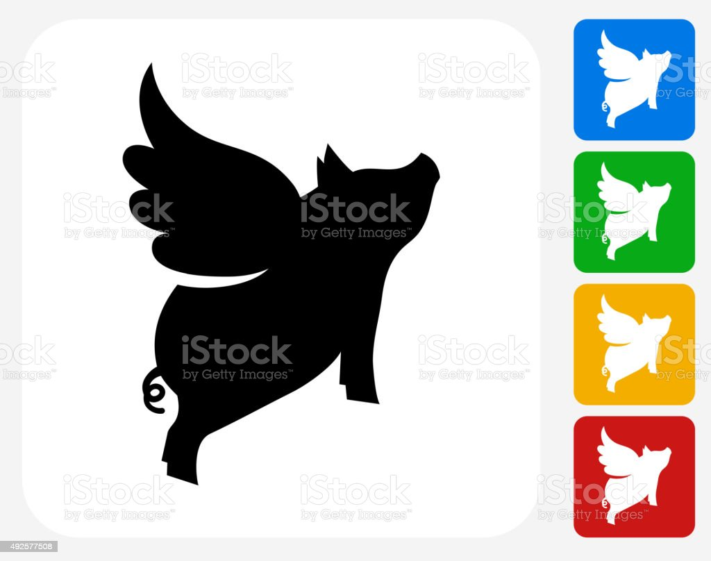 Flying Pig Icon Flat Graphic Design vector art illustration
