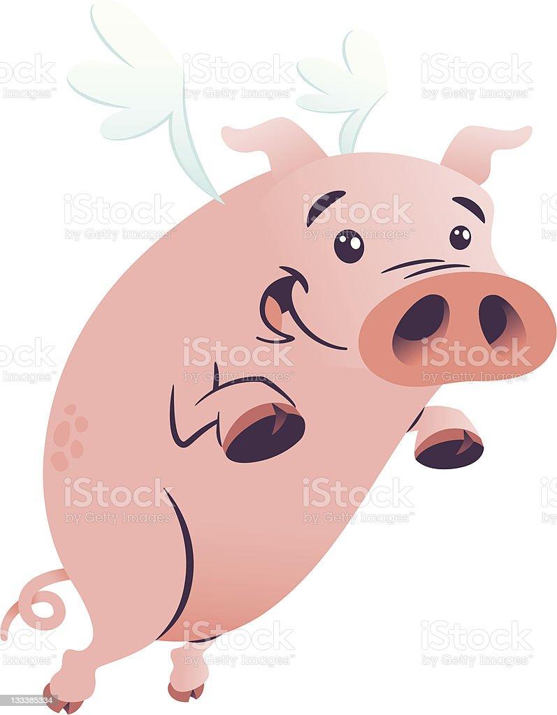 Flying Pig vector art illustration