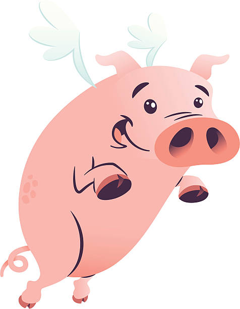 Flying Pig vector art illustration