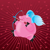 Flying Valentine Cupid Pig with bow and arrow.