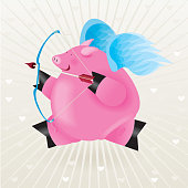 Cupid pig with bow and arrow.