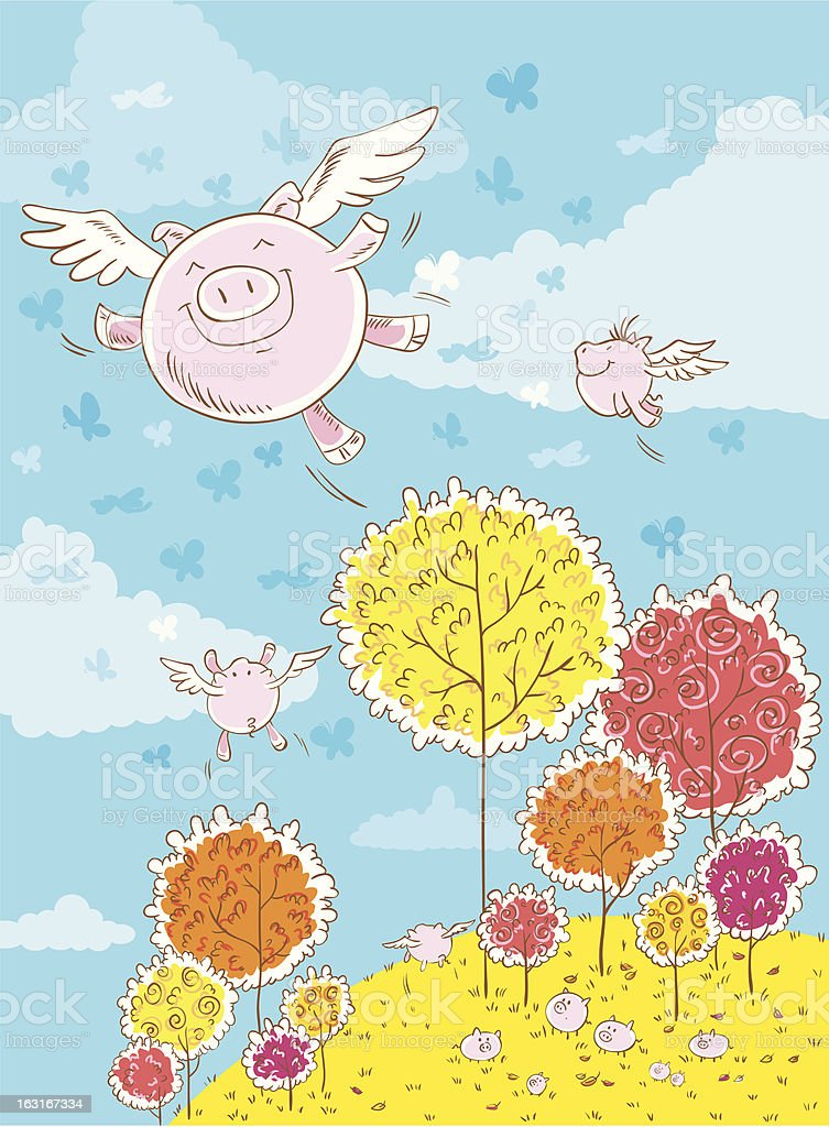 Flying pigs royalty-free stock vector art