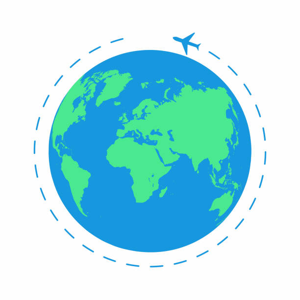 flying plane around the world. the path plane, airplane route. planet earth icon - иллюстрации на тему туристические направления stock illustrations