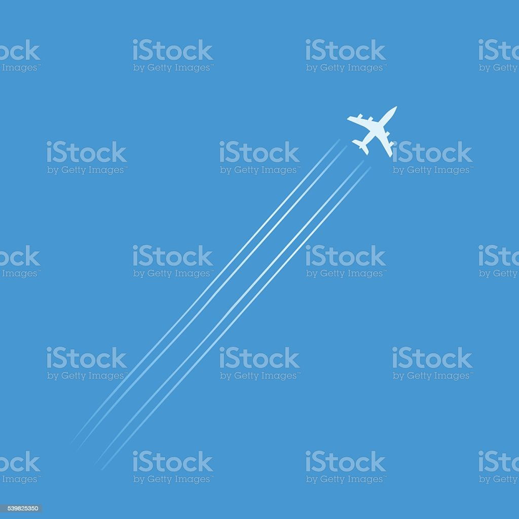 Flying plane silhouette isolated in blue sky with trails vector art illustration