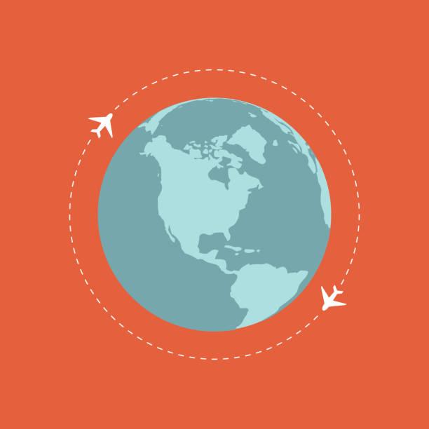 飛行機を飛んでいます。平面のパス。世界中の飛行。ベクトル - アジア旅行点のイラスト素材/クリップアート素材/マンガ素材/アイコン素材