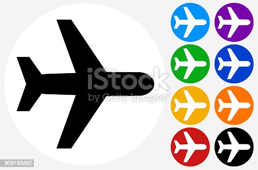 Flying Plane.The icon is black and is placed on a round blue vector button. The button is flat white color and the background is light. The composition is simple and elegant. The vector icon is the most prominent part if this illustration. There are eight alternate button variations on the right side of the image. The alternate colors are orange, red, purple, yellow, black, green, blue and indigo.