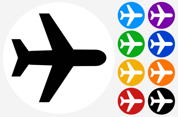 Flying Plane. Flying Plane.The icon is black and is placed on a round blue vector button. The button is flat white color and the background is light. The composition is simple and elegant. The vector icon is the most prominent part if this illustration. There are eight alternate button variations on the right side of the image. The alternate colors are orange, red, purple, yellow, black, green, blue and indigo. airplane symbols stock illustrations