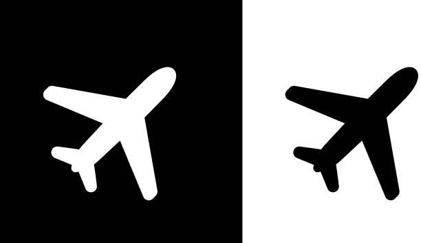 ilustraciones, imágenes clip art, dibujos animados e iconos de stock de plano vuelo. - avión