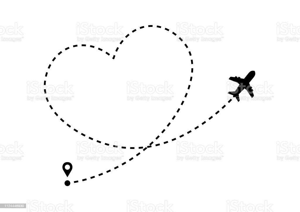 Airplane silhouette and dotted route