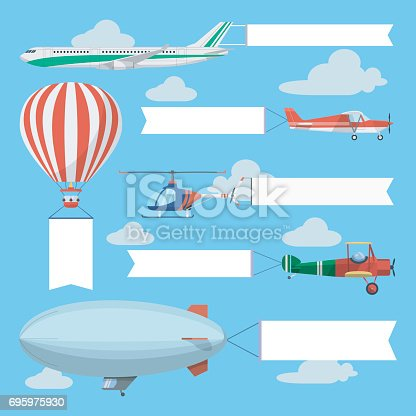 Flying planes pulling advertising banners. Helicopter, airplanes and airship with vertical and horizontal banners. Light air transport with empty ribbons in the sky.
