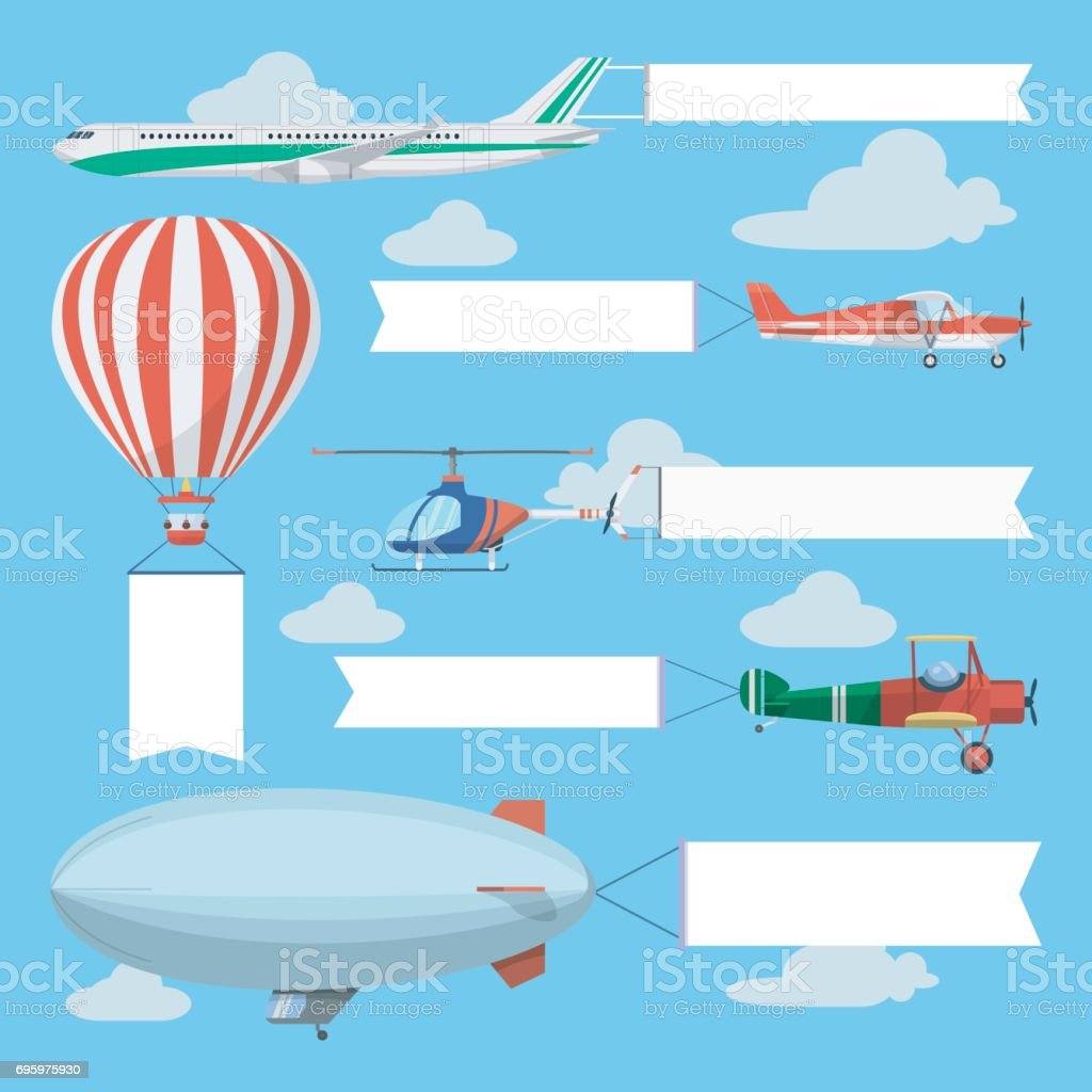 Flying planes, helicopter and airship pulling advertising banners vector art illustration