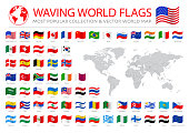 Flying Popular Flags stock illustration