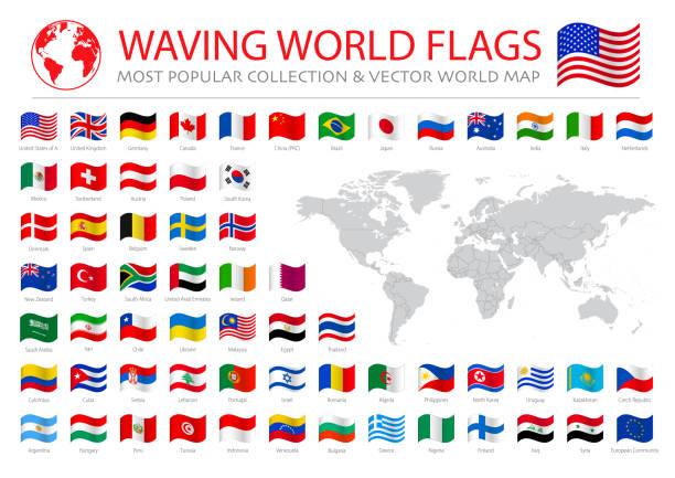 stockillustraties, clipart, cartoons en iconen met vliegende populaire vlaggen voorraad illustratie - nationale vlag