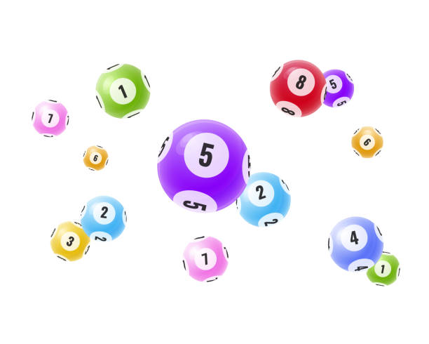 Flying realistic 3D balls with random numbers. Lottery, bingo, lotto. Flying realistic 3D balls with random numbers. Lottery, bingo, lotto. Balls with numbers for game, drawing prizes in lotto. Success, victory, winnings, luck. Vector illustration for banner, flyer bingo stock illustrations